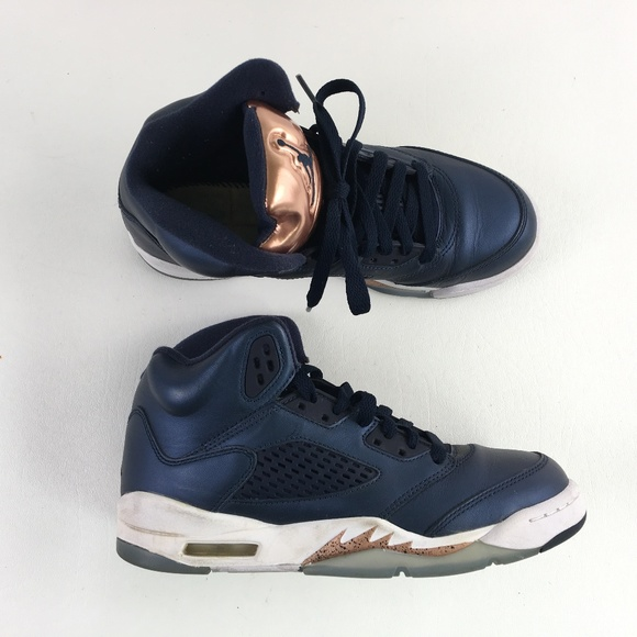 new styles 87d36 d1374 Nike Blue Gold Retro Jordan 5 A1517536